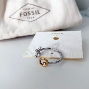 Fossil X O Silver and Gold Open Ring